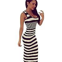 vestido largo Sannysis - vestido playa sin mangas raya de color (Blanco, 2XL)