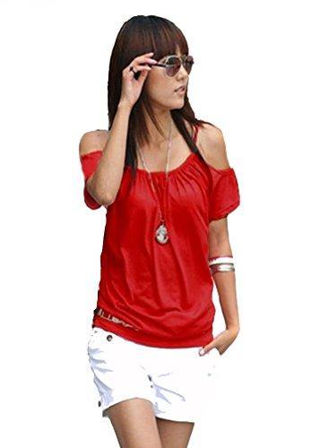 Japan Style von Mississhop Damen Top T - Shirt Bluse Longshirt Tunika Tanktop Nata rot M