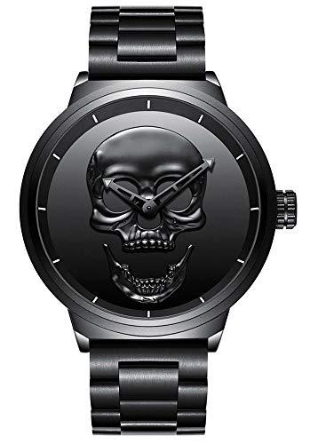 Hombre de cráneo creativo reloj Cool acero inoxidable grande dial Vintage Boy cuarzo reloj militar...