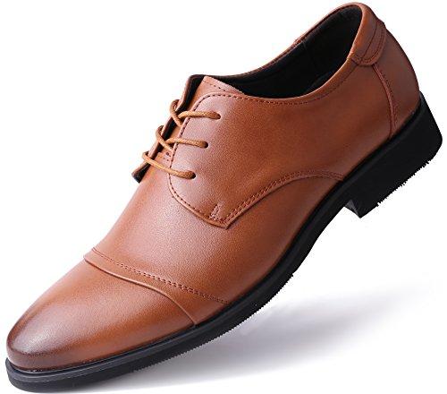 Marino Avenue Herren Derby-Schuhe - Leder - Klassisch & Elegant - Bräunen - Cap-Toe - 43 EU