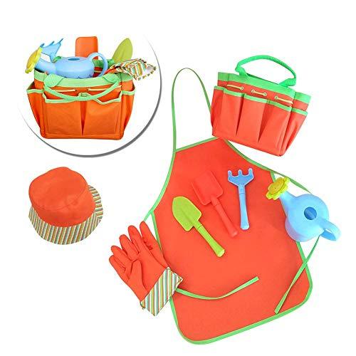 Juego de siembra de herramientas de jardinería para niños 8PCS con regadera de rastra de pala
