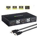 AIMOS HDMI KVM Switch, USB 2 Ports PC Computer KVM Umschalter Tastatur und Maus...