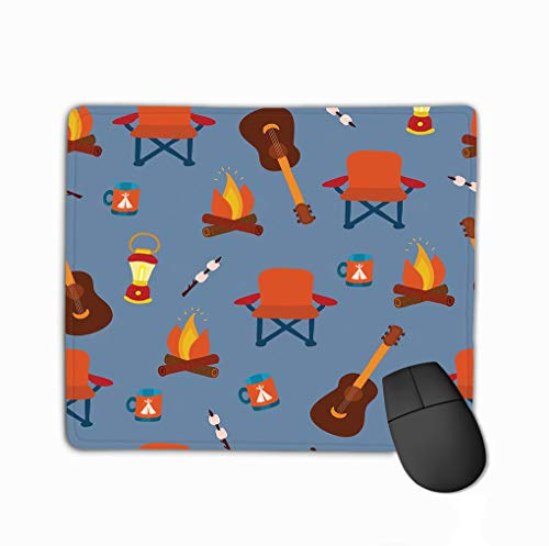 Mouse pad camping gadgets seamless vector pattern background outdoor equipment folding chair marshmallow lantern camp fire mug guitar steelserieskeyboard