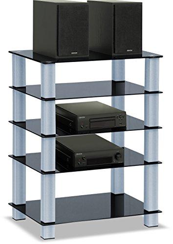 Glas-entertainment-rack (CENTURION Supports Trinity, schwarz glänzendes Regal für Flachbildschirm mit 5 Brettern)
