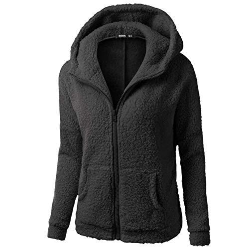 Oudan Women 's Kapuzenpullover Plus Velvet Plus Code Mantel, Winter Thermal Zipper Plus Size Jacke Mantel, Baumwollmantel Show Dragon mehr Farbe (Farbe : Schwarz, Größe : 4XL)