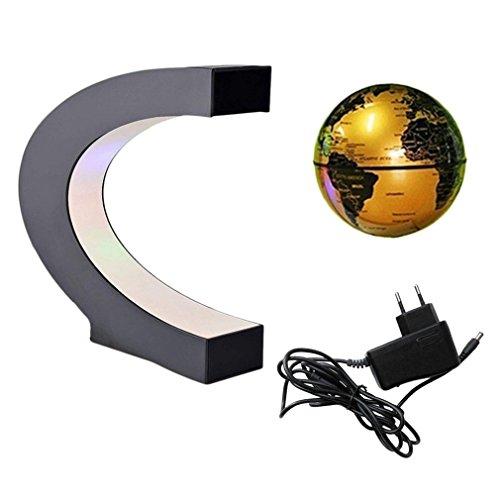 forepin Créatif Globe Terrestre Lévitation Globe Magnétique Globe Lumières LED Base en Forme C Lumineux Flottant pour Démonstration de l'enseignement Décoration Maison Bureau Cadeau de Noël (Golden)