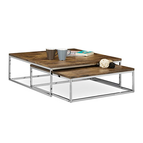 Relaxdays FLAT Nested Coffee Tables Set Of 2 Natural Nesting Tables, Size:  27 X 80 X 80 Cm Large Living Room Table Fits Over One Another As Low Table  Or ...