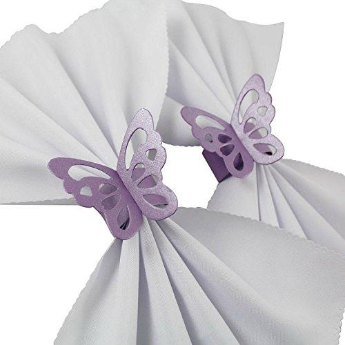 iShine® 50 pcs Anneau Rond de Serviette Porte-Serviette Boucle en Forme de Papillon Décoration de Table