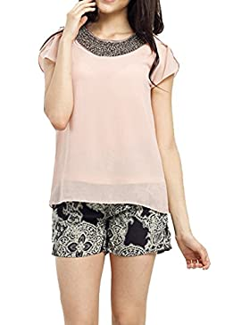 Las Mujeres De Manga Corta De La Gasa Floja Camisas Top T Shirt Blusa Pink S