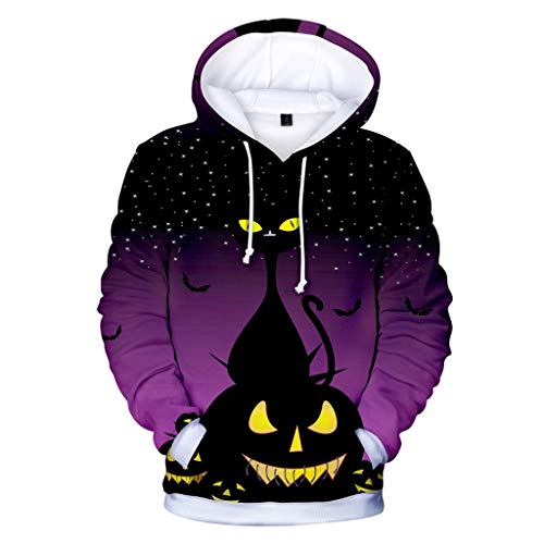 MasteriOne Herren Hooded Sweatshirt Halloween Print Realistic 3D Print Round Neck Pullover Hoodies with Big Pockets Long Casual (Moderne Bonnie Und Clyde Kostüm)