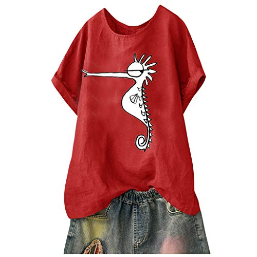 Frauen Casual T-Shirt Baumwolle Leinen Bluse O-Neck Print Top Kurzarm Leichtgewicht Freizeithemd Leichtgewicht Lose Strandhemd Mode Wild T-Shirt -