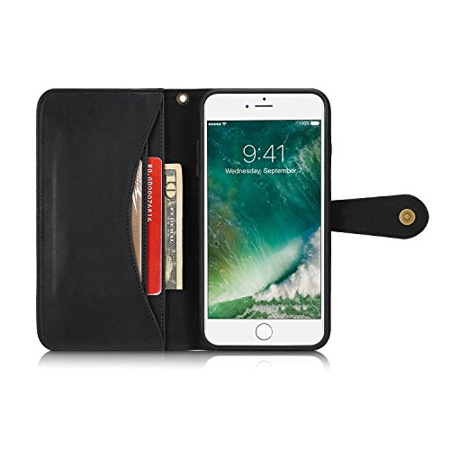 iPhone 7 Hülle,iPhone 8 Hülle,SUNWAY PU Leather Card Slot Folio Flip Dustproof Scrach Proof Full Protection Wallet Case with Kickstand for iPhone 7/8 4.7 Inch - Black Black