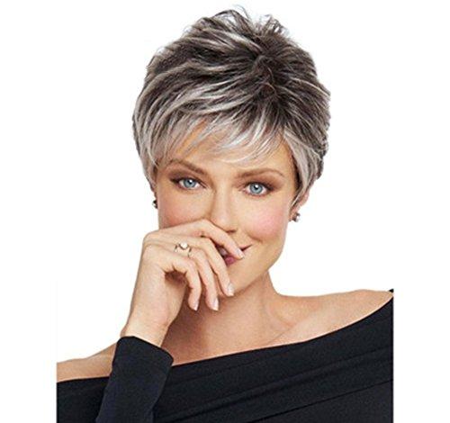 Wwwig afro grigio riccio capelli parrucche per nero donne corto argento kinky capelli 100% calore resistente fibra sintetico parrucca 11