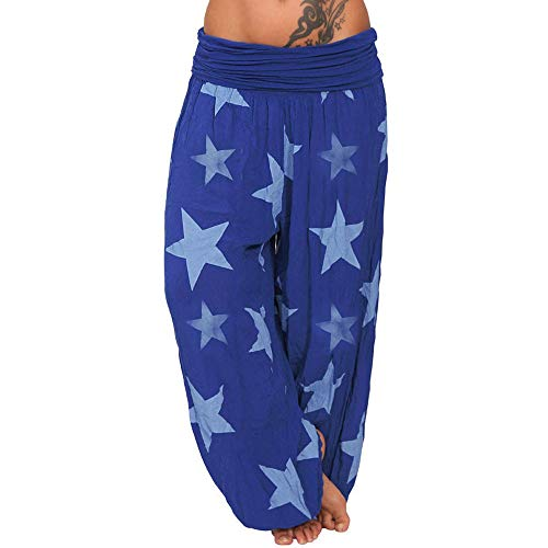 WOZOW Haremshose Damen Sterne Stars Muster Print Bedrucktes Gefaltet Plissee Mid Waist Pumphose Loose Aladdin Indian Hippie Yoga Long Baggy Hose Freizeithose Stoffhose Übergröße (2XL,Dunkelblau) - Slim Fit, Marine Check