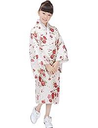 Bigood Kimono Peignoir Enfant Robe Japonais Satin Déguisement Chemise de Nuit Chambre Chic