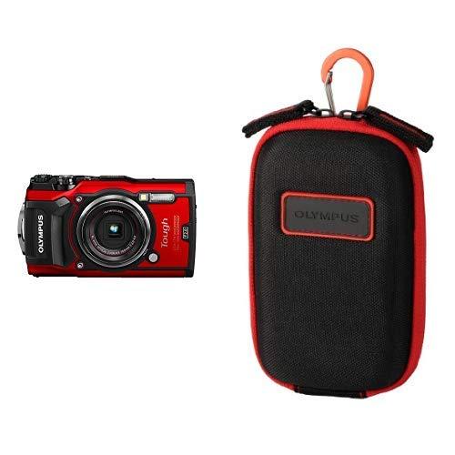Olympus Tough TG-5 Digitalkamera (12 MP, 25-100mm 1:2,0 Objektiv, GPS, Manometer, Temperatursensor, Kompass) rot &  CSCH-107 Kameratasche (Kamera Olympus Tough 3000)