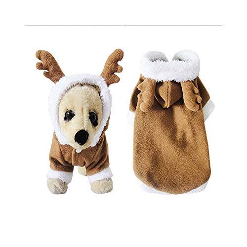 Pet Weihnachten Rentier Kleid Kostüm Weihnachten Muster Kleidung Baumwolle Hoodie Lustige Fleece Material Herbst und Winter Modelle für Katzen Costume Pet Kleidung für kleine Hunde