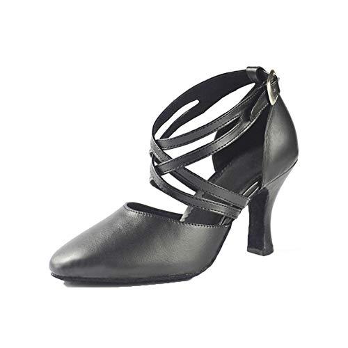 einische Tanzschuhe Gürtel überqueren Metall Schnalle Hoher Absatz Moderne Tanzschuhe Rutschfest Atmungsaktiv Tanzschuhe (Absatzhöhe: 7,5 cm), Black,41 ()