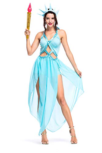 Women's Statue of Liberty Halloween Cosplay Fancy Dress Costume