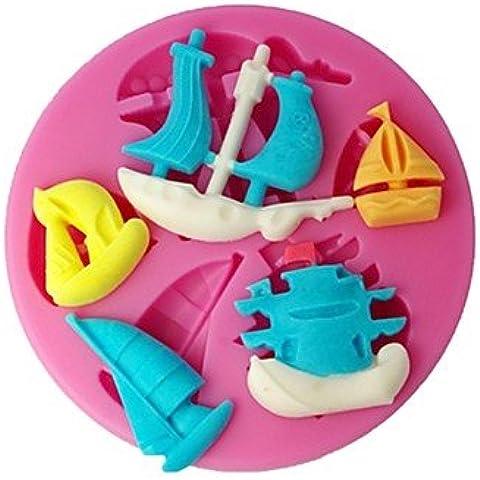 BWTCJ Molde para hornear,cuatro c suministros veleros molde de silicona fondant de decoración de pasteles de color rosa