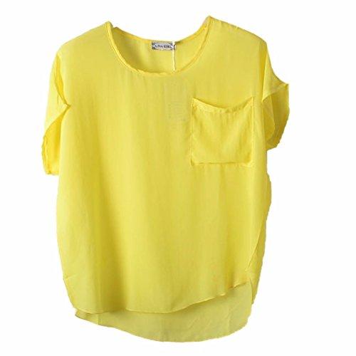 QIYUN.Z Neue Fluegelkurzschlusshuelsenfrauen Chiffon Normallack-Kapuzenpulli T-Shirts Blusen Yellow Perspective