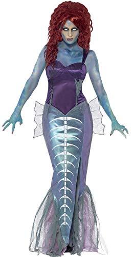 Kostüm Meerestiere - Damen-Zombie Meerjungfrau Halloween Mythisch Biest Meerestiere Gedreht Märchen Aerial Kostüm Kleid Outfit - Lila, UK 12-14