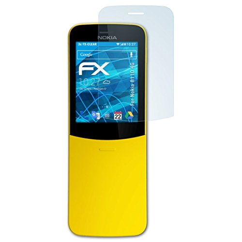 atFolix Schutzfolie kompatibel mit Nokia 8110 4G Folie, ultraklare FX Bildschirmschutzfolie (3X)