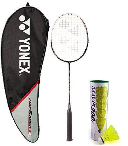 Yonex Arcsaber 100 THL & Mavis 200I Combo (Arcsaber 100 THL Taufic Hidayat Special Edition Badminton Racquet,Black + Mavis 200I Pack of 6 Shuttlecock)  available at amazon for Rs.3183