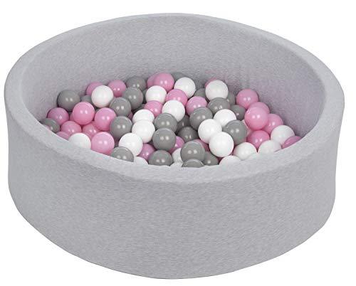 Pool-stoff (Velinda Bällebad Ballpool Kugelbad Bällchenbad Bällchenpool Kinder Pool mit 150 Bällen (Farbe der Bälle: weiß,Rosa,Grau))