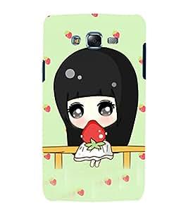 Fuson Premium Back Case Cover Cute girl with Strawberry With Orange Background Degined For Samsung Galaxy J7::Samsung Galaxy J7 J700F