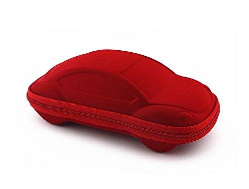 Demarkt Kind Brillenetui Karikatur Reißverschluss Brillen Etui kleines Auto Kind Brillenetui für Sonnenbrillen, Rot