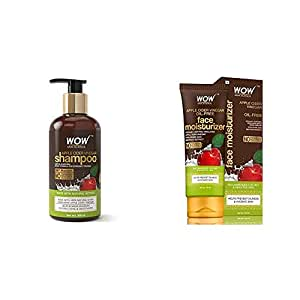 Wow Apple Cider Vinegar No Parabens & Sulphate Shampoo, 300Ml And Wow Skin Science Organic Apple Cider Vinegar Face Moisturizer - Oil Free, Quick Absorbing - For Norm