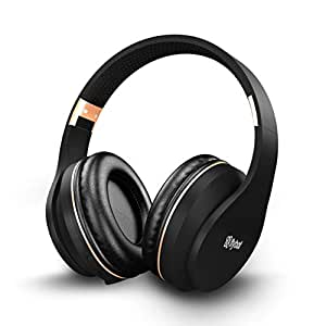 Flybot Rock Over-Ear Bluetooth Headphone with Seamless Controls, IPX 5 Sweat Proof Cushions, up to 6 Hours Playtime (Black-Gold)