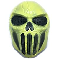 CS mascarilla de protección Halloween Airsoft Paintball Full Face Skull Máscara de esqueleto Amarillo Claro