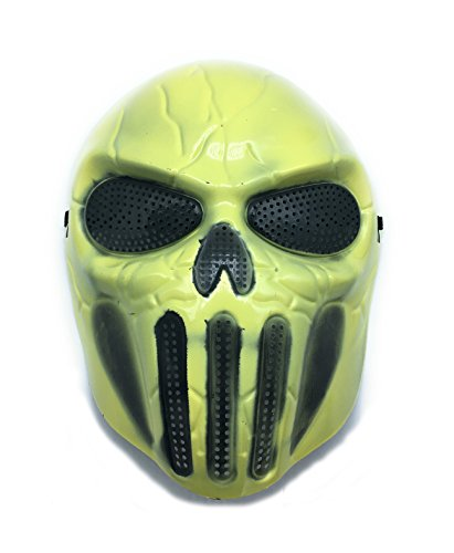 Masque-de-protection-CS-Masque-de-squelette-crne-complet-Airsoft-Paintball-de-Airsoft-Jaune-Clair