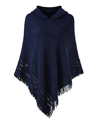 SUNNYME Damen Strick Poncho Cape Überwurf V-Ausschnitt Batwing Crochet Hoodie Strickjacken Marine One Size