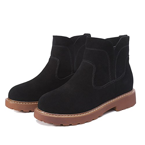WJNKK New Womens Ladies Flat Leather Stivaletti Scarpe Alla Moda Retro Leisure Large Size 35-40 Black