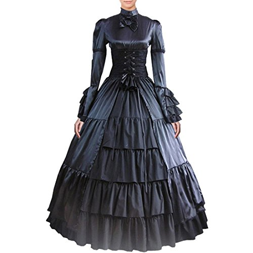 Fancy Dress Store Damen partiss bowknot kragen gothic viktorianischen kleid kostüme ständer Schwarz Small