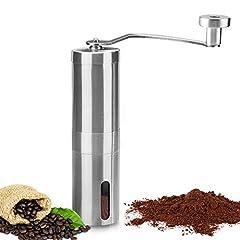 Idea Regalo - Macina caffè manuale, innislink Portatile in acciaio inossidabile mano macinacaffè macina di Chicchi di Caffè Finezza Regolabile e Rendimento di 40g di Caffè in Polvere - Argento