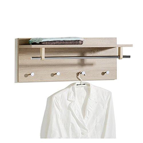 Wandgarderobe Garderobe ULF mit Kleiderhaken Hutablage Kleiderstange, Sonoma Eiche