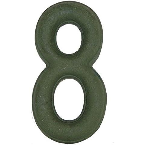 Numero Civico 8 Ceramica In Gres - Colore Verde Smeraldo Naturale cm11x6 h1,5