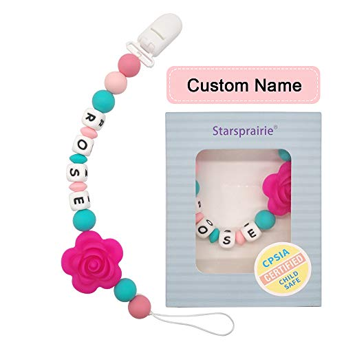 Dentifricio Nome Personalizzato dentizione sollievo dal dolore giocattoli Silicone commestibile perline masticabili Binky Holder fissato per neonato bambino Baby Shower (Rosa)