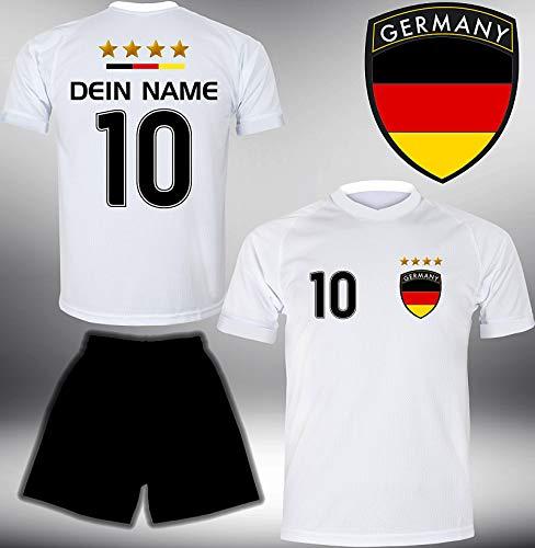 ElevenSports Deutschland Trikot Set 2018 mit Hose GRATIS Wunschname + Nummer im EM WM Weiss Typ #DE1th - Geschenke für Kinder Erw. Jungen Baby Fußball T-Shirt Bedrucken