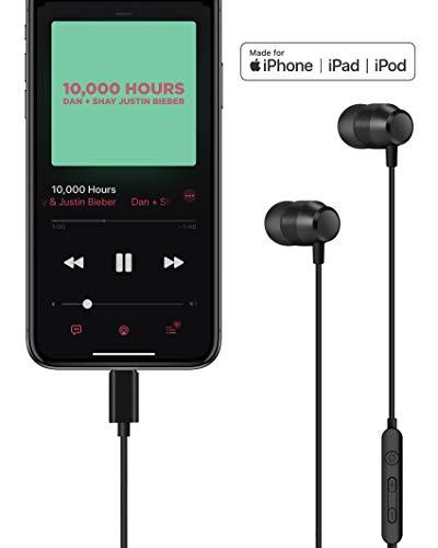 PALOVUE Earflow In-Ear Lightning Kopfhörer Magnetischer MFi Zertifizierter Ohrhörer mit Mikrofon-Controller für iPhone X/XS/XS Max/XR iPhone 8 / P iPhone 7 / P (Metallic Schwarz) - 2