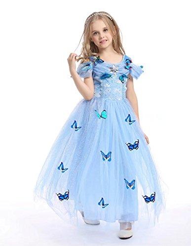 MOXO Mädchen Phantasie Cosplay Kleid Outfit Halloween Kleid Schnee Qween Kostüm Mädchen Prinzessin Kleid Blau Butterfly (Kostüm Disney Plus Size Belle)