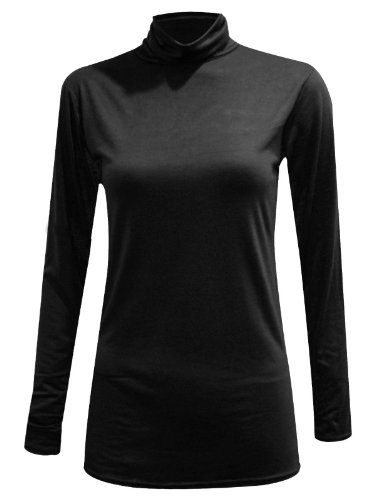 Oops Outlet Damen Body mit Rollkragen, langärmlig, Stretch Top Damen Tops, Gr., Übergröße Mehrfarbig - Schwarz