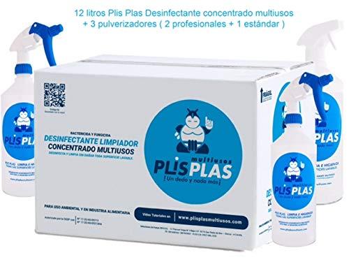 PLIS PLAS Desinfectante Concentrado Multiusos H.A. Potente limpiador desengrasante quitamanchas-cocinas,baños,tapicerias,suelos antideslizantes,marmol,piedra,madera,etc. 12L+3 PULVERIZADORES.