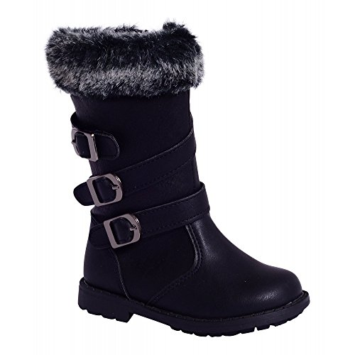 Minis Mädchen Kinder Kinder Schwarzes Fell Trimmen Schnallen Faux Leder Knöchel Schuhe 5-10 UK5/US6/EURO22 (Stiefel Pelz-trim)