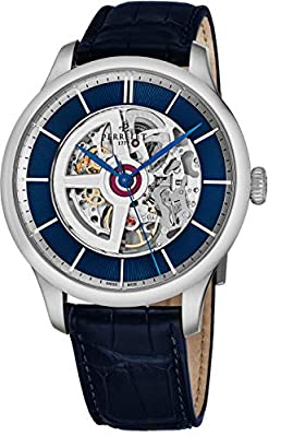 Perrelet Men's 42mm Alligator Leather Band Steel Case Automatic Watch A1091-3