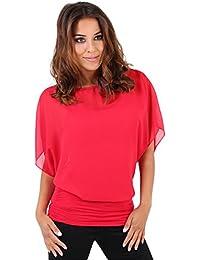 KRISP Damen Oberteil Festlich Chiffon Bluse Elegant Shirt Kurzarm Große Größen